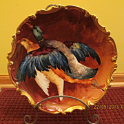 Large Spectacular Limoges Hand Painted Bird Game charger Plaque, Listed Artist A.Bronssillon Signed