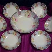 Vintage Lovely Bavaria Germany  Rose  Master Berry Bowl Set