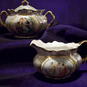 Antique Royal Saxe Dresden Germany Scenic Sugar Bowl Creamer Set ,Ca Early 20th Century