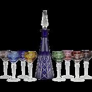 Vintage Czech Bohemian Cut to Crystal Decanter/8 Cordial Liquor Glass Set