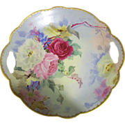 Limoges Hand Painted Rose Cake Plate,Artist Signed  1901