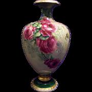 American Belleek Hand Painted Rose Lilac Vase Ewer Urn, Ca 1890s