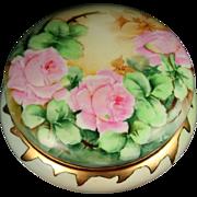 Large Limoges Hand Painted Rose Powder Jar Box, Ca 1907