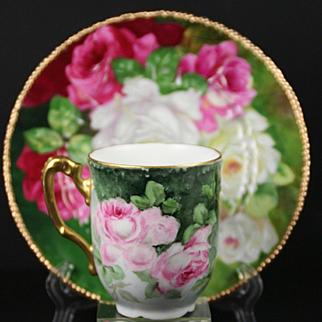 Limoges Hand Painted Rose Cup Saucer Set, Artist Signed,Ca 1890-1910