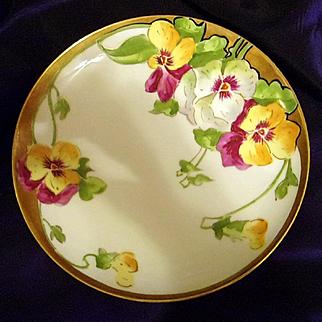 Limoges Hand Painted Art Nouveau Style Cabinet Plate, Ca 1906-1920