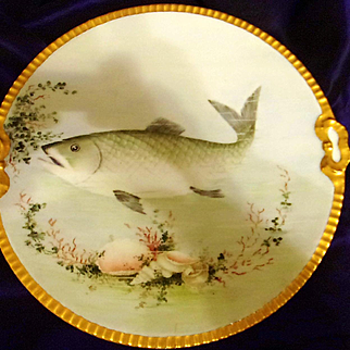 Old Bavaria Hand Painted Fish Charger,Ca Early 1900's