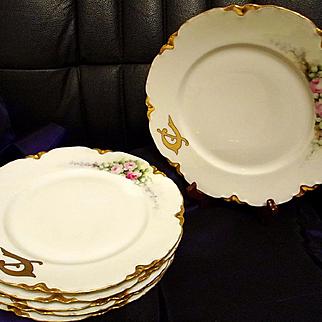 Limoges Haviland France Hand Painted Dinner Plate Set of 6, Artist Signed, Ca 1898-1931