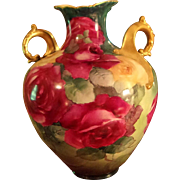 19th Century American Belleek  Hand Painted Rose Vase