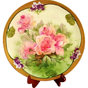 19th Century Royal Vienna Turn Austria Hand Painted Rose Violet Plate,Artist Signed