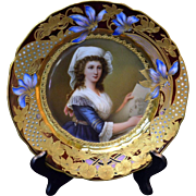 """19th Century Royal Vienna Hand Painted Plate, Artist Signed """"Wagner"""""""