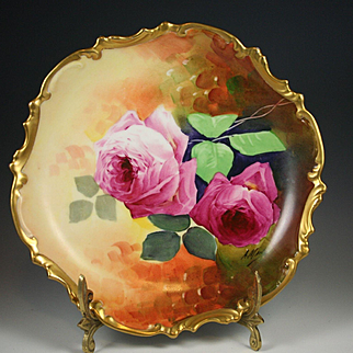 Spectacular Limoges Hand Painted Rose Charger/ Plate  Plaque, French Artist Signed