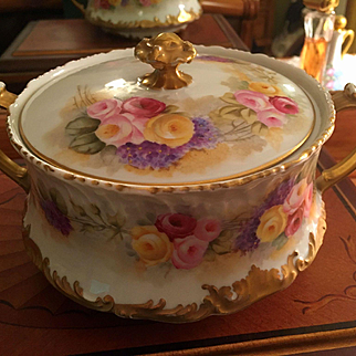 Large Limoges Hand Painted Cracker /Biscuit Jar, Roses and Lilac,Limoges  Artist Signed