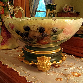 Limoges Magnificent Hand Painted Berry Punch Bowl /Plinth, Artist Signed and  Dated