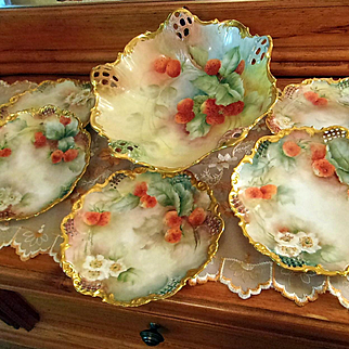 Limoges P.H Leonard Hand Painted Master Berry Desert Set, Artist Signed and Dated 1904