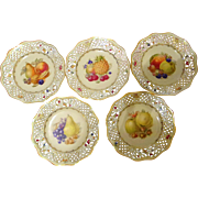 Vintage Dresden Germany US Zone Hand Painted Fruit Plate Set