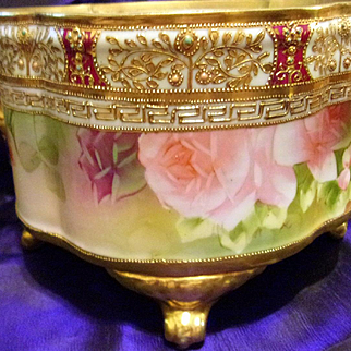 Nippon Hand Painted Jeweled Rose Jardiniere Ferner
