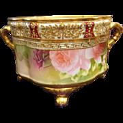 Nippon Hand Painted Jeweled Rose Jardiniere Ferner