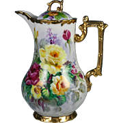 Limoges Hand Painted Rose Chocolate Coffee Pot