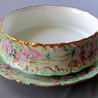 Large Limoges Hand Painted Rose Ferner Pudding Bowl Centerpiece & Underplate Charger Set