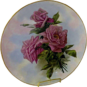 Limoges Hand Painted Rose Charger Plaque , Artist Signed and Dated '99