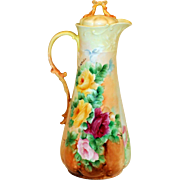 Limoges Hand Painted Rose Chocolate Coffee Pot ,Artist Signed