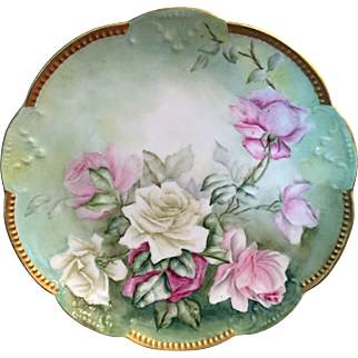 Large Limoges Hand Painted Rose Charger Plaque
