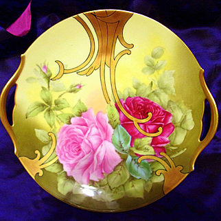 """Limoges Hand Painted Rose Cake Plate Charger,Artist Signed """"Roby"""""""