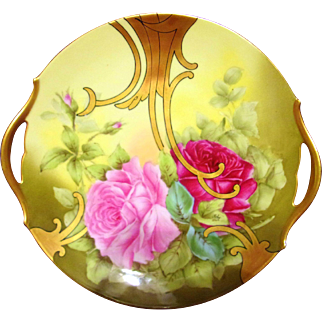 "Limoges Hand Painted Rose Cake Plate Charger,Artist Signed ""Roby"""