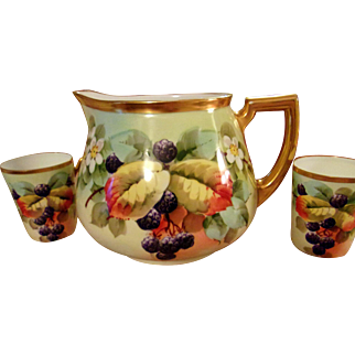 Pickard Artist Reury Hand Painted Pitcher /Cup Set