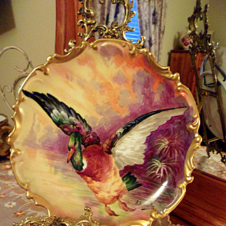 Large Limoges Hand Painted Charger Plaque, Artist Signed A. Bronssillon