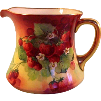 "Limoges ""Ravenwood"" Studio Hand Painted Strawberry Pitcher"