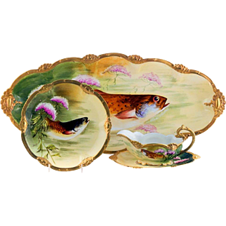"Spectacular Limoges Hand Painted Fish Set,  Listed Limoges Master Artist Signed ""J. Barin"""