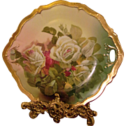 "Austria Hand Painted Rose Cake Plate,Artist Signed ""Marlin"""