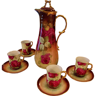 Limoges Hand Painted Rose Chocolate Pot/4Cup Set, Masterpiece,Ca 1900
