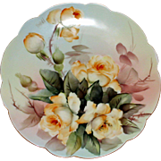 Limoges E.Miler signed Hand Painted Rose Plate
