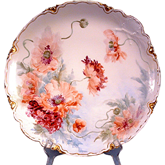 Large Haviland Limoges Hand Painted Poppy Charger Plate,Ca 1888
