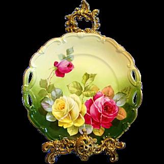 Limoges P.H Leonard Hand Painted  Rose Cake Plate,Artist Signed