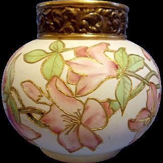 Rare Large Belleek Hand Painted Bulbouse Vase