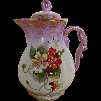 Austria Hand Painted Individual Chocolate Tea Pot, Ca 1889