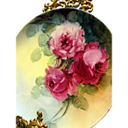 Haviland Limoges Hand Painted Rose Plate Plaque, Artist Signed