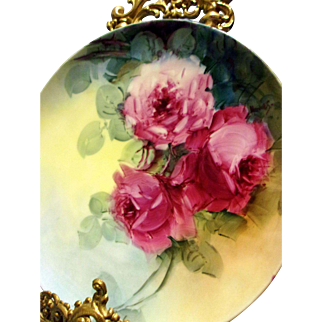 Haviland Limoges Hand Painted Rose Plate Plaque, Artist Signed