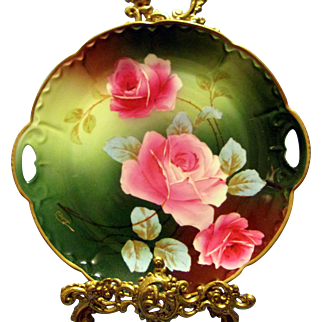 Austria Hand Painted Rose Cake Plate,Artist Signed