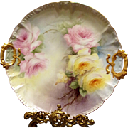 Limoges Hand Painted Rose Charger Plate, Artist Signed