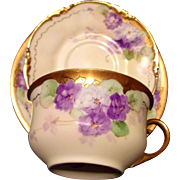 Limoges Hand Painted Violet Cup Saucer Plate