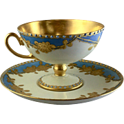 Antique French Pedestal Rose Cup Saucer Set, Jeweled