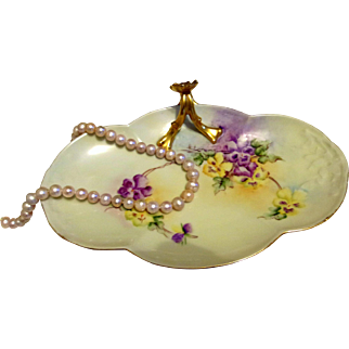 Limoges Hand Painted Dresser Tray Dish,Artist Signed