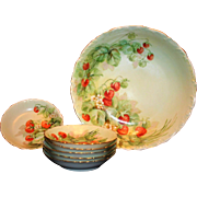 Limoges Hand Painted Strawberry Master Bowl Set, Artist Signed
