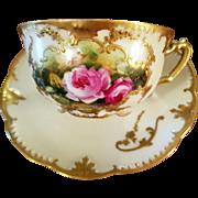 Antique Limoges Hand Painted Rose Cup Saucer Set, Artist Signed