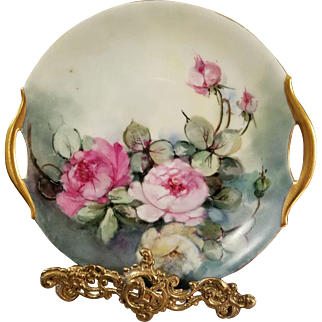 Bavaria Hand Painted  Rose Cake Plate, Ca Early 1900's