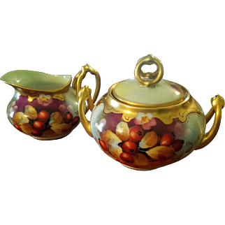 "Limoges Pickard Hand Painted Berry Creamer Sugar Bowl Set,  Pickard Artist Signed ""A.Roy"""